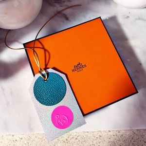 Auth. Hermes Petit H Silk & Leather Luggage Tag